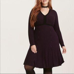 Torrid Purple Black Knit Striped Sweater Dress